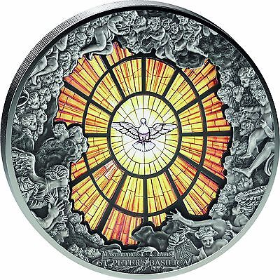 2016 Cook Islands 10 oz St. Peters Basilica ALABASTER WINDOW Silver Coin