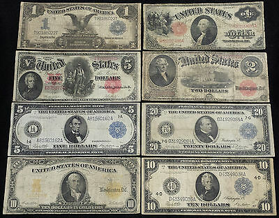 1899-1917 8 HORSEBLANKET LARGE SIZE Currency Lot $10 GOLD $5 Woodchopper $20 $2+