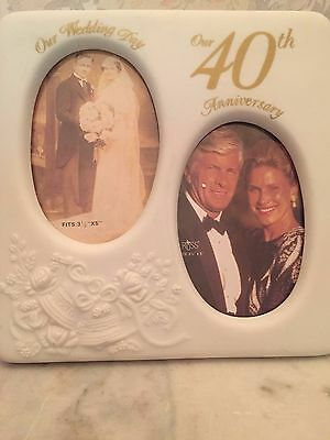 "Special 40th Anniversary Oval Duo Picture Frame by Russ Berrie - 3 1/2 x 5"" pics"