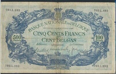 Belgium Pick-number: 109 (1938) used (III) 1938 500 francs - 100 Belgas (7497859