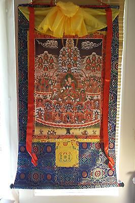 Large Nyingma Refuge Tree thangka, thanka, silk brocade