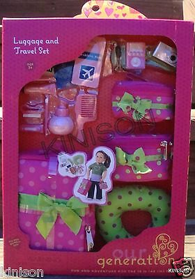 """Our Generation 18"""" Doll Luggage and Travel Accessory Set Suitcase ~ NEW SEALED"""