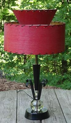 "VTG MCM Atomic Wrought Iron Lucite Acrylic Sphere Lamp 2 tier Red Shade 24"" tall"