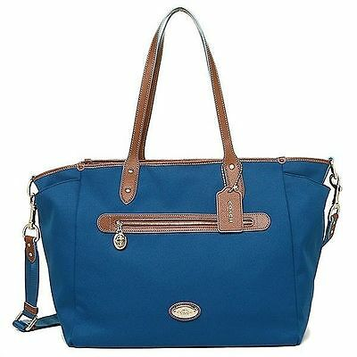 Coach Sawyer Multifunction Diaper Baby Bag Tote Mineral Blue w/ Changing Pad New