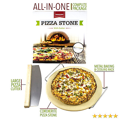 """Cordierite Pizza Stone Cooking Kit with Pizza Cutter - 13"""" Pizza Stone, Cutter"""