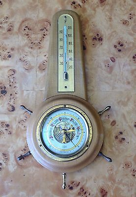 vintage BARIGO barometer GERMANY ship TIMBER brass GWO Thermometer