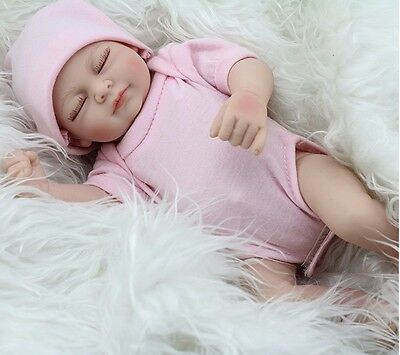 US Handmade Lifelike Baby Girl Doll Silicone Vinyl Reborn Newborn Dolls+Clothes