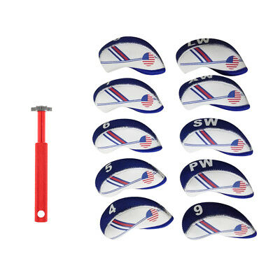 10pc Golf Head Cover Club Iron Putter Head Protector + Golf Groove Sharpener