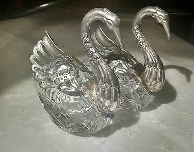 Vintage Silver Plated and Glass Open Salt Sugar Swans Bowls Cellars