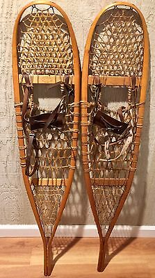 VINTAGE Snowshoes  QUEBEC CANADIAN with Leather Bindings Signed FABER VGC++