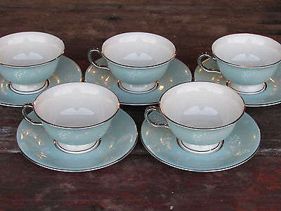 "5 Vintage Mid-Century Castleton China-""corsage"" Footed Tea Cup-Saucer Sets"