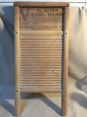 V Dubl Handi Model #2133W All Wood Washboard World War II !Rare!