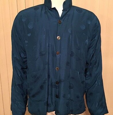 Rare VTG Double Horse Pure 100% Silk Chinese Blue Jacket Quilted • Women's Large