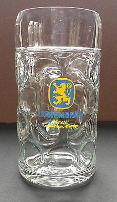 Lowenbrau Seit 1383 Munchen Clear Glass Dimpled Beer Stein 1 Litre Germany