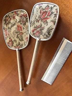 Vintage Embroidered 3 pce Dressing table set Made in England collectable