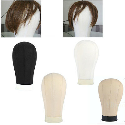 "Canvas Block Head Hairnet Extension / Wig Making Mannequin Model 20-25"" EB"
