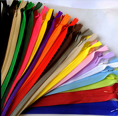 5-100pcs Nylon Invisible Soft tulle Coil Zippers Sewing 11/16/22inch
