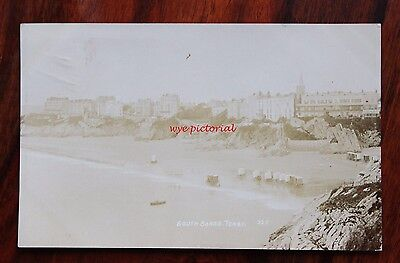 Good Photo Postcard Rp 1914 Tenby South Sands Bathing Huts  Allen Photographer