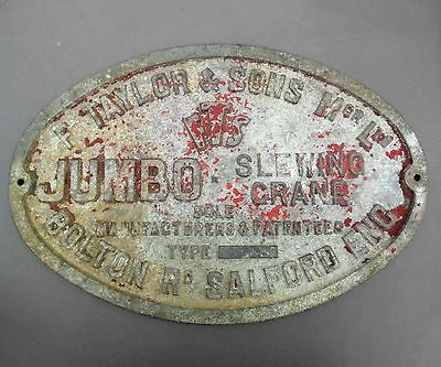 Large 1950's Taylor Jumbo Mobile Crane Plaque ~ Engineering Maker's Name Plate