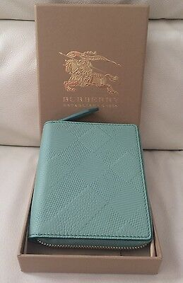 Burberry Mini Leather Torquoise  Notebook Made In Italy Bnwb