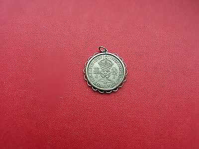 Vintage 1945 Florin Coin In Coin Holder Pendant No Chain