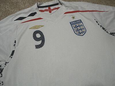 Authentic Umbro England National Wayne Rooney Soccer Football Shirt Jersey XL