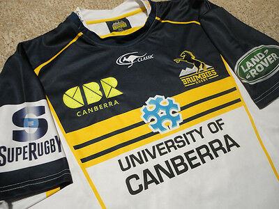 Authentic University Canberra Brumbies Soccer Football Rugby Shirt Jersey SZ 2XL