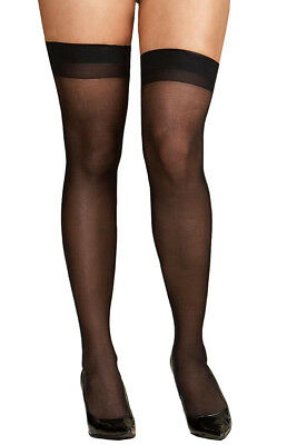 Plus Size Hosiery Lingerie Sheer Back Seam Thigh High Stocking- Fits size 16-22