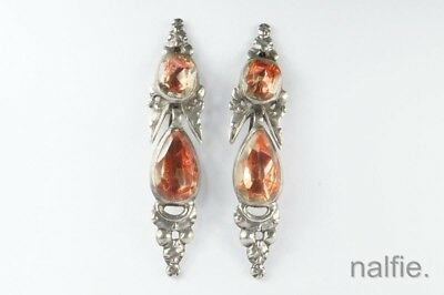 ANTIQUE 18th CENTURY IBERIAN / MALTESE SILVER FOILED PINK CRYSTAL EARRINGS