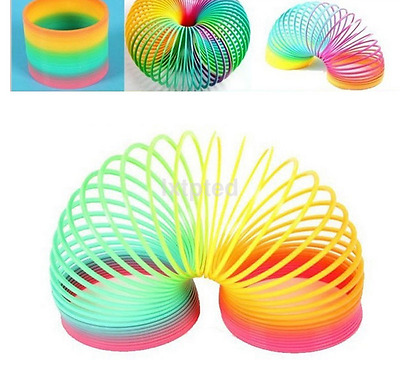 Magic Plastic Slinky Rainbow Spring Colorful New Children Funny Classic Toy au~