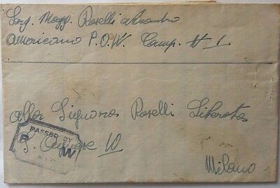 WW 2 CENSORED LETTER SHEET FROM ITALIAN PRISONER OF WAR IN AMERICAN CAMP No. 1