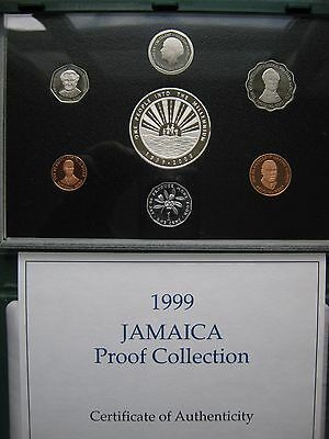 Jamaica 1999 Proof 7 Coin Set from 1 Cent to $50 Dollars Silver Piece cased COA