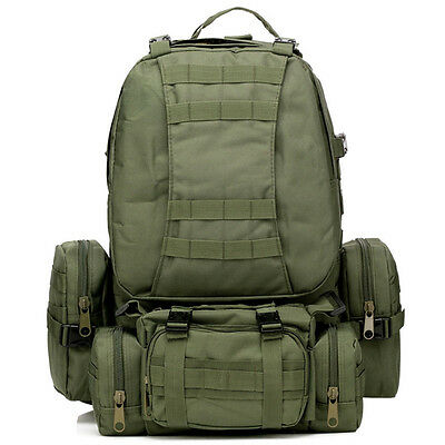 50L Tactical Outdoor Molle Assault Military Rucksacks Backpack Camping Bag Green