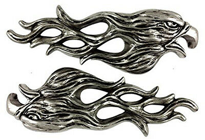 NEW Lethal Threat Pair 3D Stick on Flaming Eagle Emblem Goldwing Motorcycle