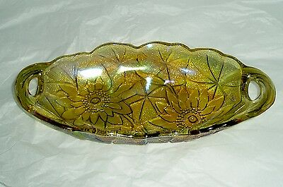 Vintage carnival glass  - floral dish - relish dish - orange Carnival glassware