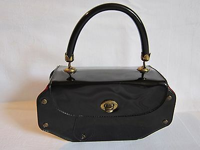 Vintage 1950 1960 Small Patent Black Vinyl Ladies Childs Box Handbag