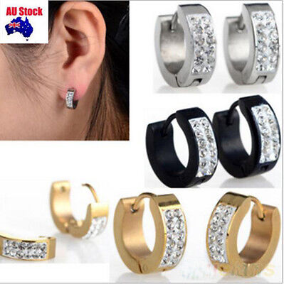 1 Pair Fashion Mens Dads Ear Studs Hoop Earrings With diamond Black Gold Silver