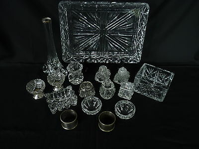 Cut Glass Tray with an assortment of small items