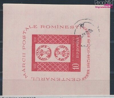 Romania block41 fine used / cancelled 1958 100 years Romanian Stamps (8688210