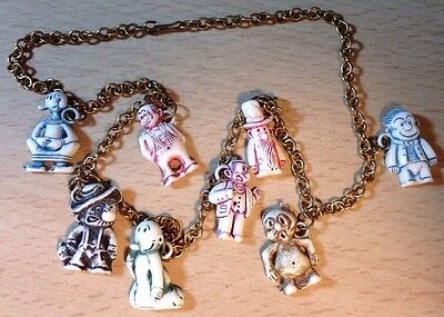 VINTAGE TOY COMIC STRIP CHARM SET CHARMS CHAIN Inspector OLIVE OIL JIGGS Lot