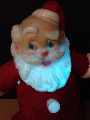 Noma Santa Light Vintage Velour Metal Plastic Works Canada Indoor Lamp Christmas