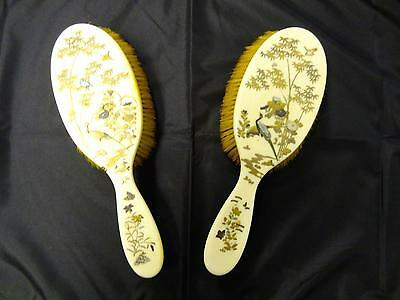 Antique Pair Of Shibayama Hairbrushes, Unsigned, Meiji Period, Circa 1868-1912