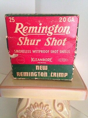 Vintage Remington Empty SHUR SHOT 20ga. Shotgun Shell BOX  ONLY Ammo