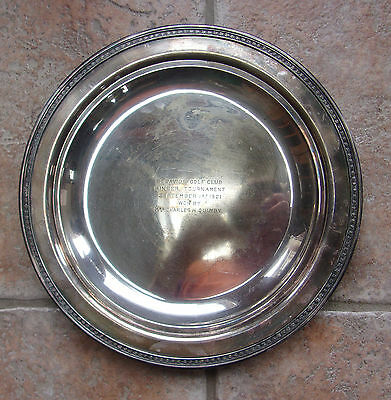 Antique Barbour Silver Plated Golf Trophy Tray 1921 St. Davids Golf Club Ringer
