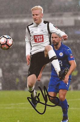 DERBY: WILL HUGHES SIGNED 6x4 ACTION PHOTO+COA