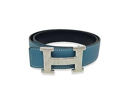 Turquoise Blue Clemence Leather H Belt Silver Hardware Belt