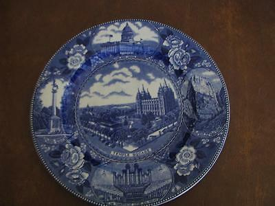 Temple Square Salt Lake City Utah Historical Plate Blue and White 10""