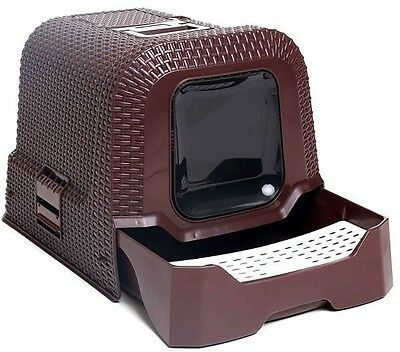 Large Cat Litter Hooded Pan Tray Box Toilet Indoor Outdoor Kitten Enclosed Brown