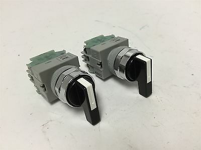 Lot of 2 Idec ASW Selector Switches, 2-Position, With 2x TW-C10 Contact Blocks