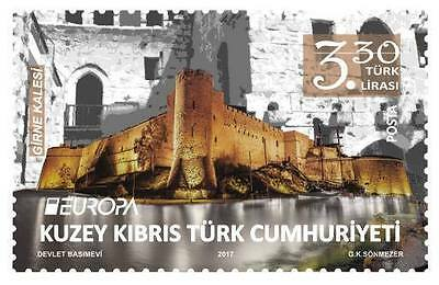 Unmounted Mint 2017 Europa Stamps Castles Turkish Cyprus